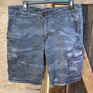 Gray Camo Cargo Shorts